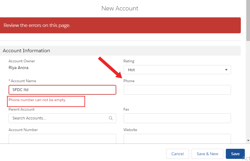 Validation Rules in Salesforce1